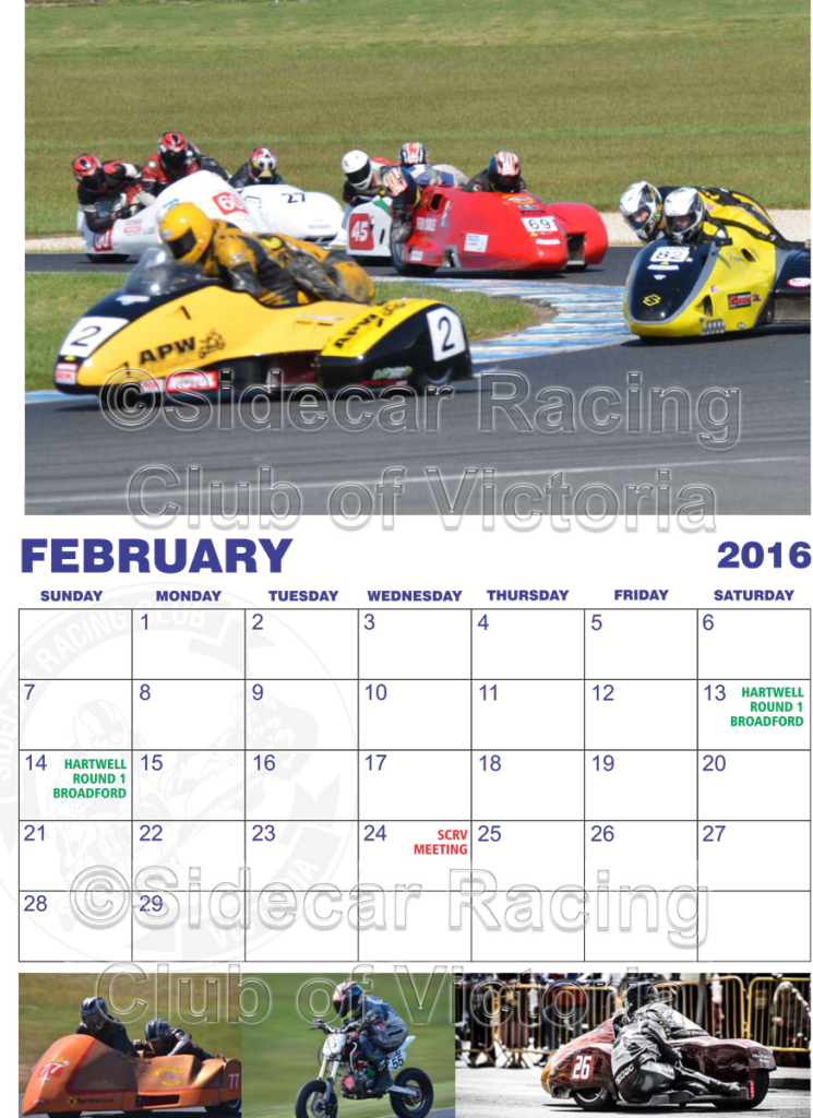 February 2016 Sidecar Racing Club Calendar